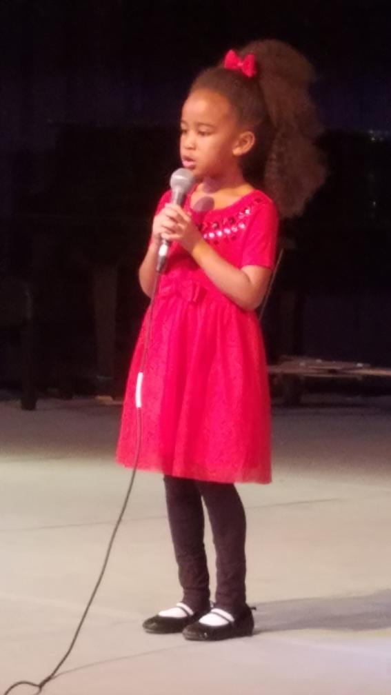 "Myzhara Jeter, 1st Grader, sang ""Tomorrow"""
