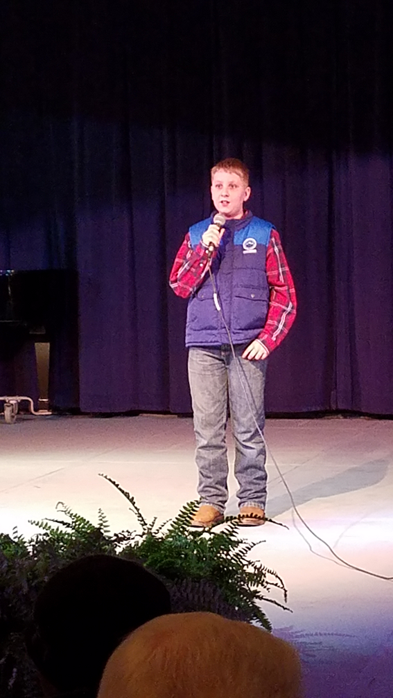 "Josh Freeman, 5th Grader, sang ""From My Front Porch Lookin' In"""