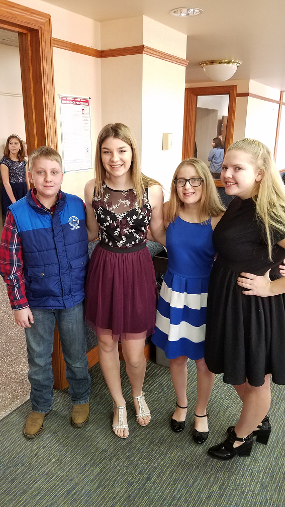 Josh Freeman, 5th Grader, Hallee Lewis, 7th Grader, Marissa Johnston and Sarah Bloom, 8th Graders